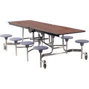 NPS® table de cafétéria mobile de 8' avec tabourets - MDF - Top de noyer/Selles grises/cadre de chrome