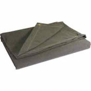 4' X 4' Super Heavy Duty 15 oz. Flame Resistant Canvas Tarp Olive Drab - CTF-15-01-0404