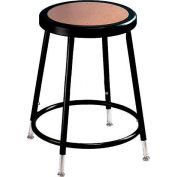 "Interion® Steel Shop Stool with Hardboard Seat - Ajustable Height 19""-27"" - Black - Pack of 2"