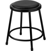 """Interion® 18"""" Steel Work Stool with Vinyl Seat - Backless - Black - Pack of 2"""