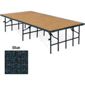 "Portable Stage with Carpet - 96""L x 36""W x 16""H - Blue"