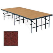 "Portable Stage with Carpet - 96""L x 36""W x 16""H - Red"