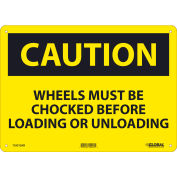 Global Industrial™ Caution Wheels Must Be Chocked Before, 10x14, Aluminum