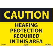 Global Industrial™ Caution Hearing Protection Required, 10x14, Pressure Sensitive Vinyl