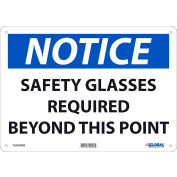 Global Industrial™ Notice Safety Glasses Required Beyond This Point, 10x14, Rigid Plastic