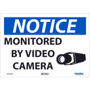 """Global Industrial™ Notice Monitored By Video Camera, 10""""X14"""", Adhesive Backed Vinyl"""