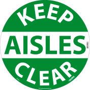 Global Industrial™ Floor Sign, Walk On, Keep Aisles Clear, 17in Dia