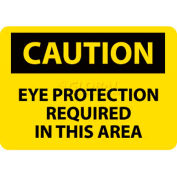 """NMC C26RB OSHA Sign, Caution Eye Protection Required In This Area, 10"""" X 14"""", Yellow/Black"""