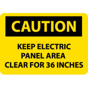 """NMC C533PB OSHA Sign, Caution Keep Electric Panel Area Clear For 36 Inches, 10"""" X 14"""", Yellow/Black"""