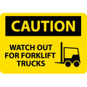 """NMC C637RB OSHA Sign, Caution Watch Out For Fork Lift Trucks, 10"""" X 14"""", Yellow/Black"""