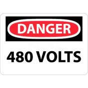 """NMC D101P OSHA signe, Danger 480 Volts, 7 """"X 10"""", blanc/rouge/noir"""