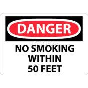 """NMC D124PB OSHA signe, Danger non fumeur au sein de 50 pieds, 10 """"X 14"""", blanc/rouge/noir"""