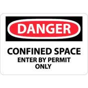 """NMC D162PC OSHA signe, Danger espace clos entrée de permettre seulement, 14 """"X 20"""", blanc/rouge/noir"""