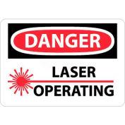 """NMC D169R OSHA Sign, Danger Laser Operating, 7"""" X 10"""", White/Red/Black"""