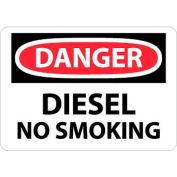 "NMC D18P OSHA Sign, Danger Diesel No Smoking, 7"" X 10"", White/Red/Black"