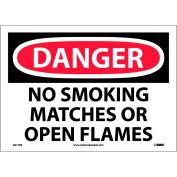"""NMC D217PB OSHA signe, Danger aucun fumeurs allumettes ou flammes nues, 10 """"X 14"""", blanc/rouge/noir"""