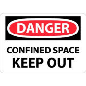 """NMC D372R OSHA Sign, Danger Confined Space Keep Out, 7"""" X 10"""", White/Red/Black"""