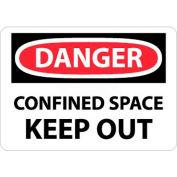 """NMC D372RB OSHA signe, Danger espace confiné évincer, 10 """"X 14"""", blanc/rouge/noir"""