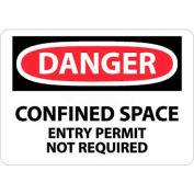 """NMC D373P OSHA signe, Danger limité des permis d'entrée espace inutile, 7 """"X 10"""", blanc/rouge/noir"""