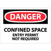 """NMC D373P OSHA Sign, Danger Confined Space Entry Permit Not Required, 7"""" X 10"""", White/Red/Black"""