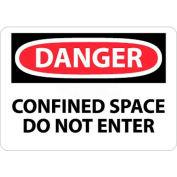 """NMC D383RB OSHA signe, Danger espace confiné n'entrez pas, 10 """"X 14"""", blanc/rouge/noir"""