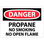 "NMC D397RB OSHA Sign, Danger Propane No Smoking No Open Flame, 10"" X 14"", White/Red/Black"