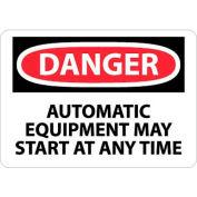 """NMC D401P signe de OSHA, Danger matériel automatique peut démarrer à tout moment, 7 """"X 10"""", blanc/rouge/noir"""