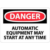 """NMC D401P OSHA Sign, Danger Automatic Equipment May Start At Anytime, 7"""" X 10"""", White/Red/Black"""