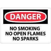 "NMC D458RB OSHA Sign, Danger No Smoking No Open Flames No Sparks, 10"" X 14"", White/Red/Black"