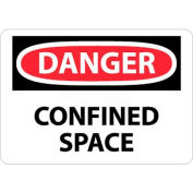 """NMC D487A OSHA Sign, Danger Confined Space, 7"""" X 10"""", White/Red/Black"""