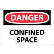 "NMC D487PB OSHA Sign, Danger Confined Space, 10"" X 14"", White/Red/Black"