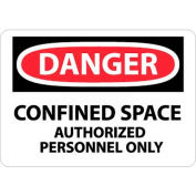 """NMC D643PB OSHA Sign, Danger Confined Space Authorized Personnel Only, 10"""" X 14"""", White/Red/Black"""