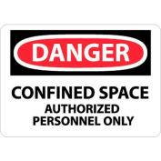 """NMC D643RB OSHA signe, Danger limité l'espace autorisé uniquement à un Personnel, 10 """"X 14"""", blanc/rouge/noir"""
