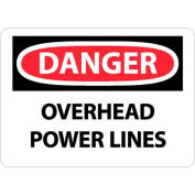 AfficheNMC D667RB OSHA, « Danger Overhead Power Lines », 10 po X 14 po, blanc/rouge/noir