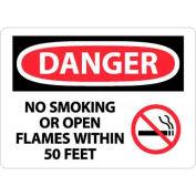 """NMC D673PB OSHA signe, Danger pas fumeurs ou ouvertes de flammes au sein de 50 pieds, 10 """"X 14"""", blanc/rouge/noir"""
