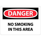 """NMC D80RB OSHA Sign, Danger No Smoking In This Area, 10"""" X 14"""", White/Red/Black"""