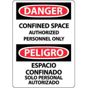 """OSHA Sign, Danger Confined Space Authorized Personnel Only, Bilingual, 14"""" X 10"""", White/Red/Black"""