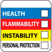 "NMC HM27ALV RTK Labels-Write On Color Bar / 4"" X 4"" / Red / Yellow / White / Blue / PSV"