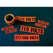 NMC JL22042O tension marqueur, 277/480 Volts, 1-1/8 X 4-1/2, Orange/Noir