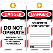 """NMC LOTAG10-25 Tags, Do Not Operate, 6"""" X 3"""", White/Red/Black, 25/Pk"""