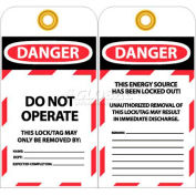 "NMC LOTAG36-25 Tags, Danger Do Not Operate, 6"" X 3"", White/Red/Black, 25/Pk"