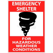 "NMC M121RB Sign, Emergency Shelter For Hazardous Weather Conditions, 14"" X 10"", White/Red/Black"