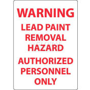"NMC M204RB Warning Lead Paint Removal Hazard Authorized Personnel Only, 14"" X 10"", White/Red"