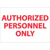 "NMC M38P Restricted Area Sign, Authorized Personnel Only, 7"" X 10"", White/Red"
