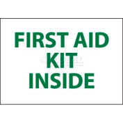 "NMC M65PP Sign, First Aid Kit Inside, 3"" X 5"", White/Green"