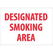 """NMC M701R No Smoking Area Sign, Designated Smoking Area, 7"""" X 10"""", White/Red"""