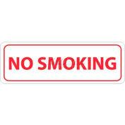 """NMC M772AP No Smoking Area Sign, No Smoking, 4"""" X 12"""", White/Red"""