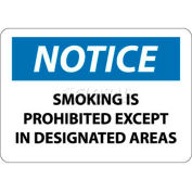 """NMC N155RB OSHA Sign, Notice Smoking Is Prohibited Except In Designated Areas, 10"""" X 14"""", Wh/Bl/Bk"""