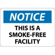 "NMC N172RB OSHA Sign, Notice This Is A Smoke-Free Facility, 10"" X 14"", White/Blue/Black"