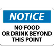 """NMC N310RB OSHA Sign, Notice No Food Or Drink Beyond This Point, 10"""" X 14"""", White/Blue/Black"""